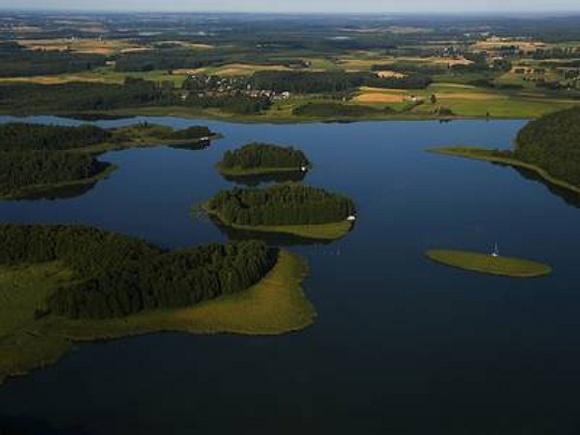 Jezioro Oświn, widok z lotu ptaka